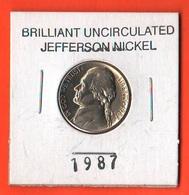USA 5 Cents 1987 P Jefferson  UNC - Emissioni Federali
