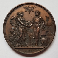 MEDAILLE - EXPOSITION DES ARTS INDUSTRIELS - VILLE DE BRUXELLES - 1874 - FORGERON - SIGNE : A.FISCH - Belgique