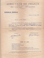20252# AERO CLUB DE FRANCE ASSEMBLEE GENERALE MARS 1918 SIGNATURE IMPRIMEE HENRY DEUTSCH DE LA MEURTHE G. BESANCON - Documents Historiques