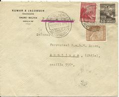Chile 1933, 3 Luftpost Marken (2xCondor) Auf Brief V. Antofogasta - Chile