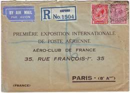 RARE Lettre De GB Adressee à La PREMIERE EXPOSITION DE POSTE AERIENNE PARIS 1930 - Marcophilie (Lettres)