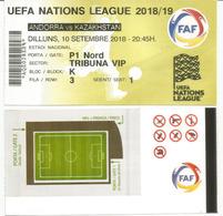 EUROPEAN NATIONS LEAGUE 2019. ANDORRA-KAZAKHSTAN,VIP TICKET 10 SEPT.2018. ESTADI NACIONAL.ANDORRA - Eintrittskarten