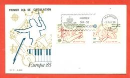 MUSICA- ANNO EUROPEO DELLA MUSICA - SPAGNA 1985- EUROPA CEPT -1985- MARCOFILIA - Musica