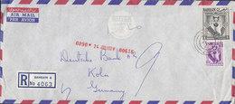 Bahrain THE BRITISH BANK OF THE MIDDLE EAST, Registered Einschreiben Label BAHRAIN 1963 Cover Brief KÖLN Germany - Bahrein (...-1965)