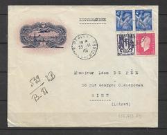 France Lettre Avec Les N°656, 673, Et 691 - Marcophilie (Lettres)