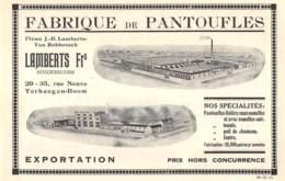 1928 - TERHAEGEN-BOOM - Fabrique De Pantoufles LAMBERTS Frs - Dim. 1/2 A4 - Publicités