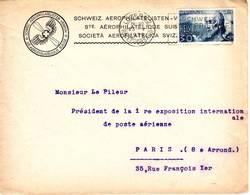 RARE Lettre De Suisse Adressee Au Pdt De La 1ere EXPOSITION DE POSTE AERIENNE Paris 1930 - Marcophilie (Lettres)