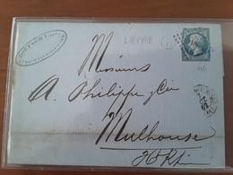 Boite Rurale B Identifiėe De LIEPVRE Sur Lettre Avec T15 STE MARIE AUX MINES HAUT RHIN 1862 - 1849-1876: Période Classique
