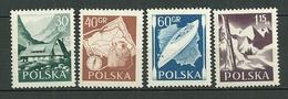 POLAND MNH ** 857-860 Tourisme Chalet Dans Les Monts Tatra Sac Ski Boussole Carte De Pays  Kayak Et Carte Des Rivières - 1944-.... République