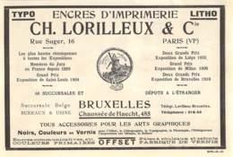 1928 - Bruxelles - Chée De Haecht - Encres D'imprimerie - Ets Ch. Lorilleux & Cie - Dim. 1/2 A4 - Publicités