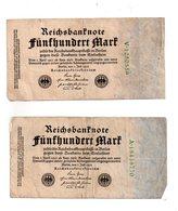 Reichsbanknote - 4 Billets De 500 Mark De 1922-voir état. - Coins & Banknotes
