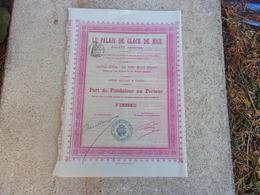 LE PALAIS DE GLACE DE NICE (1906) - Hist. Wertpapiere - Nonvaleurs