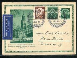 Deutsches Reich / 1935 / Sonderpostkarte Mit Int. Zusatzfrank. Per Luftpost, SSt. Mainz (18093) - Ganzsachen