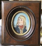 Belle Miniature Sur Ivoire Portrait Napoléon Bonaparte EMPIRE - Oils