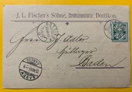 8703 -  JL Fischer's Söhne Stohhutmanufaktur Dottikon 22.08.1900 Pour Baden - ZH Zurich