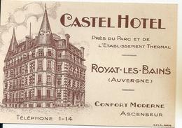 Carte De Visite Castel Hotel Royat Les Bains (Puy De Dôme) Confort Moderne Ascenseur Prés Etablissement Thermal - Visiting Cards
