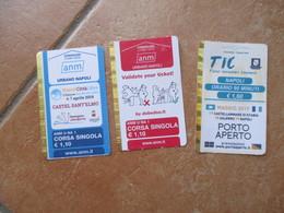 NEW NAPOLI N.3 Different Used TicketsPORTO APERTO Napoli Città Libro Keep Your Ticket - Autobus