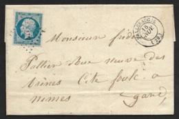 Gard-Lettre-Petit Chiffre 3477 De Valleraugue Sur N°14A - 1849-1876: Période Classique