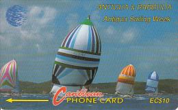ANTIGUA & BARBUDA(GPT) - Sailing Week 1, CN : 13CATA(silver Band, 0 With Barred), Tirage 74732, Used - Antigua En Barbuda