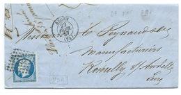 N° 14 BLEU NAPOLEON SUR LETTRE / ROUEN POUR ROMILLY SUR ANDELLE / 22 FEV 1857 / PLANCHAGE 7D4 - 1849-1876: Période Classique