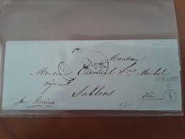 Boite Rurale I  Identifiėe De PEAUGRES Sur Lettre Avec T15 SERRIERES - ARDECHE 1856 - Marcophilie (Lettres)