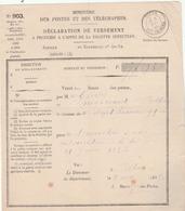 Billom (P. De D.) Déclaration De Versement Au Receveur Des Postes En Règlement D'une Contravention à La Loi Du 25/6/1856 - Marcophilie (Lettres)