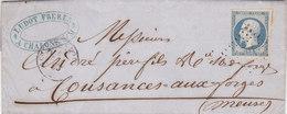 610 -  NAPOLEON 14 -  CHALON/MARNE  A  COUTANCES AUX FORGES - Marcophilie (Lettres)
