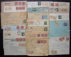 Lot De 18 Lettres Recommandées Des Années 1940, Différentes Villes Timbres Pétain, Voir Photos De Détail - Marcophilie (Lettres)