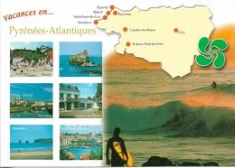 CARTES GÉOGRAPHIQUES - 64 - LEE PYRÉNÉES-ATLANTIQUES - 6 PETITES VUES - CPM - VIERGE - - Cartes Géographiques