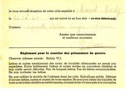 CAMP STALAG VIJ 1941 = DORSTEN WESTPHALIE AVIS DE RECEPTION COLIS CPFM SPECIFIQUE AVEC CONSIGNES VOIR LES SCANS - Storia Postale