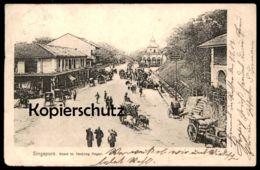 ALTE POSTKARTE SINGAPUR SINGAPORE ROAD TO TANJONG PAGAR STEMPEL KAISERLICHE MARINE SCHIFFSPOST SCHIFF PITA Ansichtskarte - Singapur