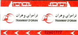 Tramway D'Oran  (Algérie) - Ancien Ticket Sans Numéro De Kiosque De Vente - Tramways