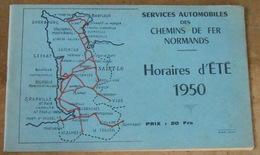 Services Automobiles Des Chemins De Fer Normands – Horaires D'Eté 1950 - Chemin De Fer