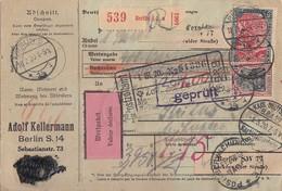 DR Wert-Paketkarte Mif Minr.87II,90II,94II,96II,97II Berlin 18.2.20 Gel. In Schweiz - Briefe U. Dokumente