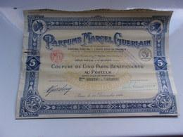 PARFUMS MARCEL GUERLAIN (coupure De 5 Parts Bénéficiaires) Suresnes - Hist. Wertpapiere - Nonvaleurs