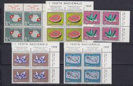 Switzerland 1959 Pro Patria 5v Bl Of 4 ** Mnh (43152) - Pro Patria