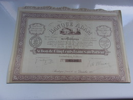 BANQUE ADAM (capital 40 Millions) BOULOGNE SUR MER Pas De Calais - Hist. Wertpapiere - Nonvaleurs