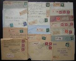 Lot De 16 Lettres Recommandées Des Années 1940, Différentes Villes Timbres Pétain, Voir Photos De Détail - Marcophilie (Lettres)