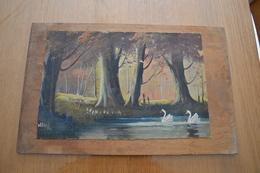 Peinture à L'huile Sur Toile Collée Sur Panneau En Bois - Oils
