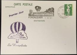 Entier Postal 2622-CP1- Marianne Du Bicentenraire - 1er Jour Montgolfiades Forcalquier - 01/06/94 - Postal Stamped Stationery
