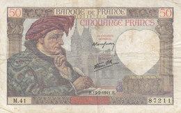 Billet 50 F Jacques Coeur Du 13-2-1941 FAY 19.06 Alph. M.41 Date Peu Courante - 1871-1952 Antichi Franchi Circolanti Nel XX Secolo