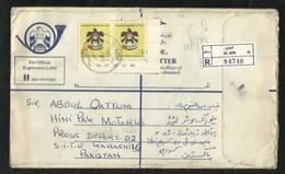 United Arab Emirates UAE Registered Letter Air Mail Postal Used Cover Abu Dhabi  To Pakistan - Abu Dhabi