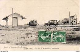 D66  CANET PLAGE  La Gare Et Les Tramways Électriques - Canet Plage
