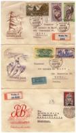 MG216) CECOSLOVACCHIA 1957 Lotto Di 5 FDC Raccomandate Viaggiate Sport -Tatra National Park - Tschechoslowakei/CSSR