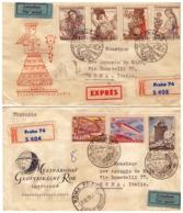 MG225) CECOSLOVACCHIA 1957 Lotto Di 2 FDC Raccomandate Viaggiate E Aeree Costumes -Sputnik - Tschechoslowakei/CSSR