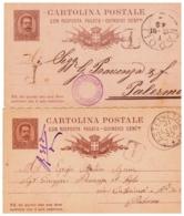 MG220) REGNO ITALIA Umberto I Lotto 2 CP Con Risposta Pagata 15 Cent. Castelvetrano E Napoli - 1878-00 Umberto I