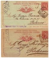MG221)REGNO ITALIA UMBERTO I -Lotto 2 CP 1889-1890 Timbro A Cerchio E Barre +Timbro Commerciale - 1878-00 Umberto I