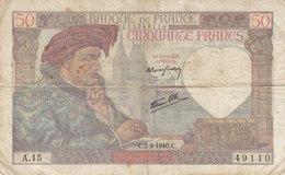 Billet 50 F Jacques Coeur Du 5-9-1940 FAY 19.02 Alph. A.15 - 1871-1952 Anciens Francs Circulés Au XXème