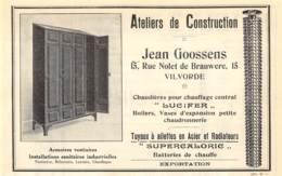1927 - VILVORDE - Rue Nolet De Brauwere - Ateliers De Construction Jean GOOSSENS - Dim. 1/2 A4 - Advertising