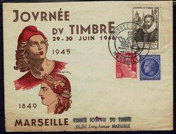 Fr - Enveloppe Décorative Marianne, Cérès - Journée Du Timbre Marseille 26 Juin 1946 - B/TB - - ....-1949